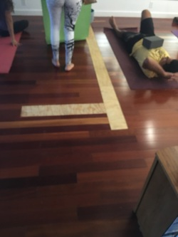 wood strip on yoga floor