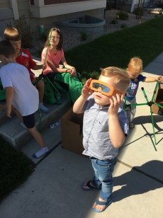 Calvin watching the eclipse