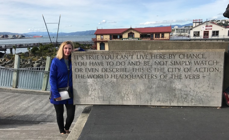 Christi with quote on pier