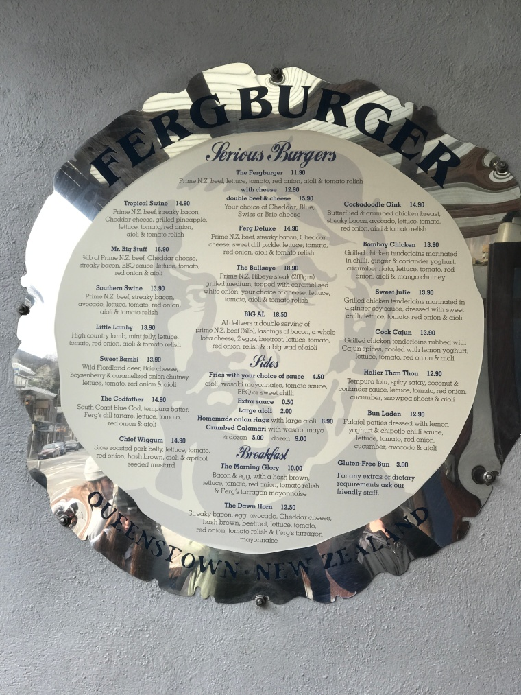 Fergburger menu