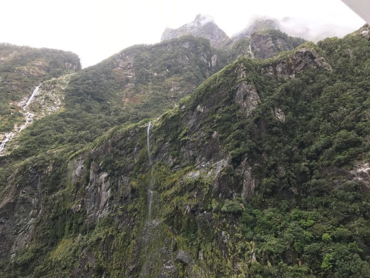 MIlford Sound Fiordland Cliffs with waterfall