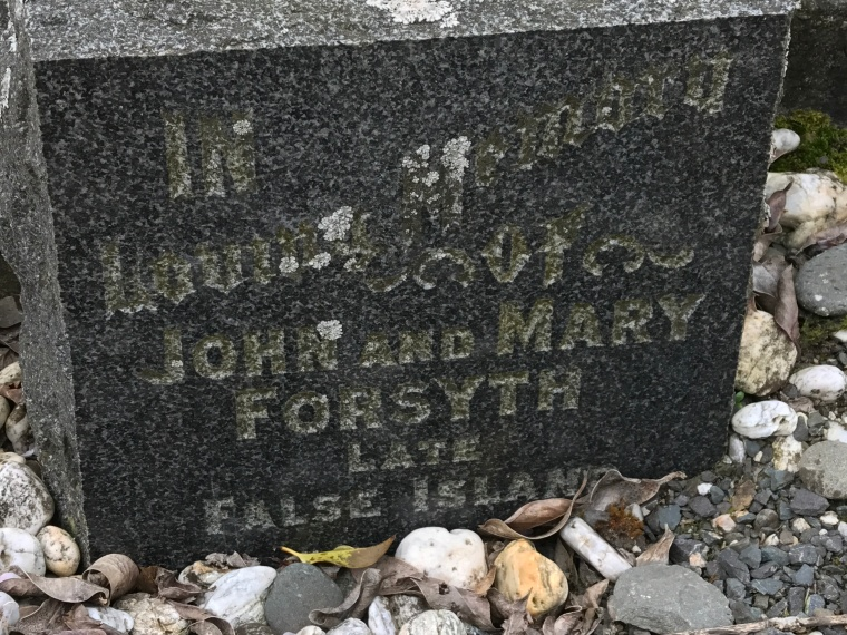 Owaka - John and Mary Forsyth gravestone up close